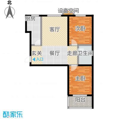 新华府88.88㎡二室二厅一卫户型2室2厅1卫