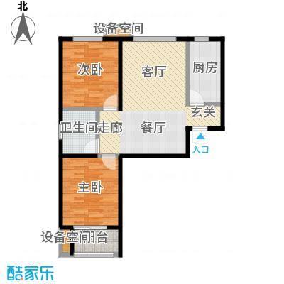 新华府87.78㎡二室二厅一卫户型2室2厅1卫
