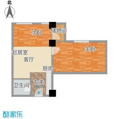 华大国际中心79.93㎡F户型两室一厅一卫户型2室1厅1卫