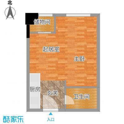 华大国际中心46.87㎡G户型一室一厅一卫户型1室1厅1卫