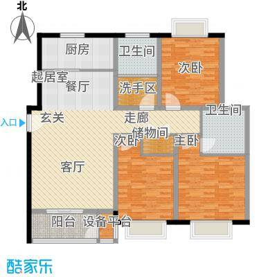 上林风景129.86㎡E3三室两厅两卫户型3室2厅2卫