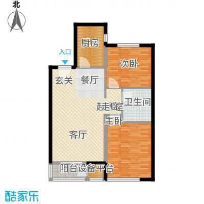 上林风景91.93㎡E2户型两室两厅一卫户型2室2厅1卫