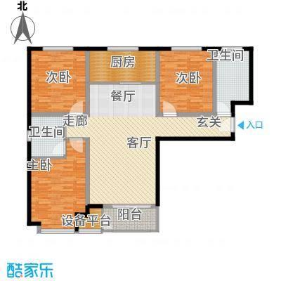 上林风景122.83㎡D1户型三室两厅一卫户型3室2厅1卫