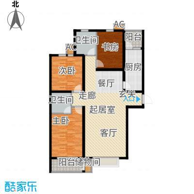 丽景华庭136.00㎡1-C户型三室两厅两卫户型3室2厅2卫