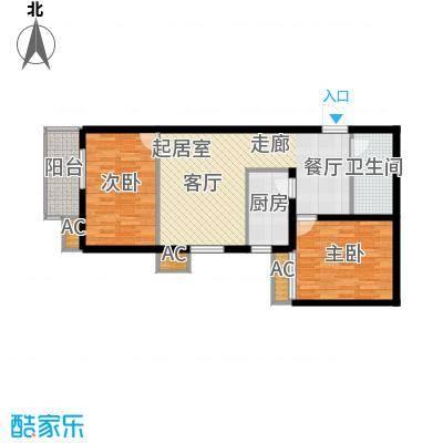 丽景华庭77.25㎡3-D户型两室两厅一卫户型2室2厅1卫