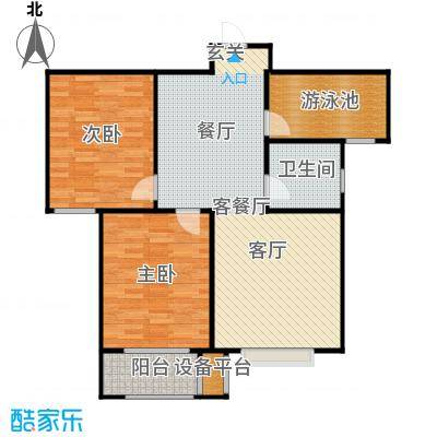 香溪雅地88.51㎡B2户型两室两厅一卫户型2室2厅1卫