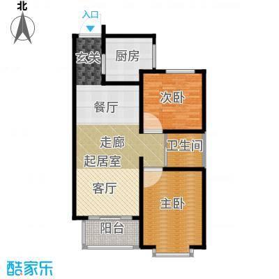 浩正�林湾87.71㎡两室两厅一卫户型2室2厅1卫