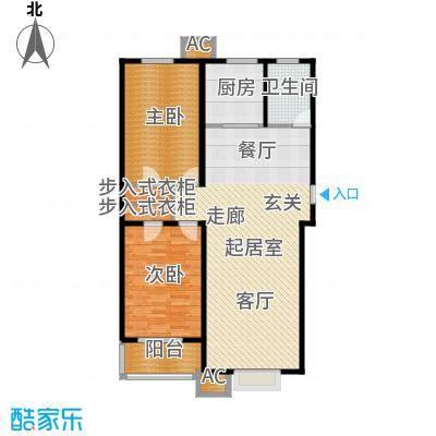 浩正�林湾107.40㎡两室两厅一卫户型2室2厅1卫
