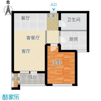 通用富馨佳苑68.00㎡B2户型1室2厅1卫