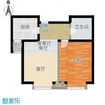 通用富馨佳苑61.00㎡B1户型1室2厅1卫
