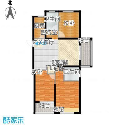 华明星海湾126.47㎡E户型3室2厅2卫