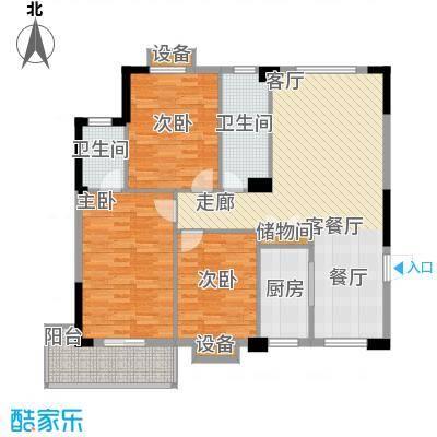 城投幸福家园户型3室1厅2卫1厨