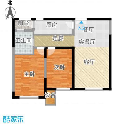 金地紫云庭100.00㎡12、14号楼AB2Q1户型约户型2室2厅1卫