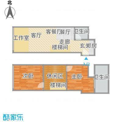 TOUCH悦城63.00㎡Q1户型设计1户型2室2厅2卫