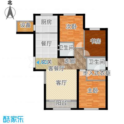金地紫云庭140.00㎡12、14号楼AA1Q1户型3室2厅2卫