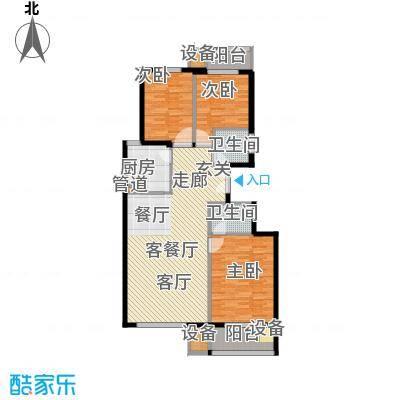 百合小筑121.77㎡三室两厅两卫121.77㎡A户型3室2厅2卫