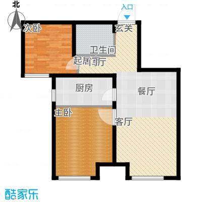 万行中心G户型两室两厅一卫建筑面积约80-83㎡户型2室2厅1卫