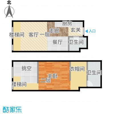 TOUCH悦城56.00㎡J户型设计1户型1室2厅2卫
