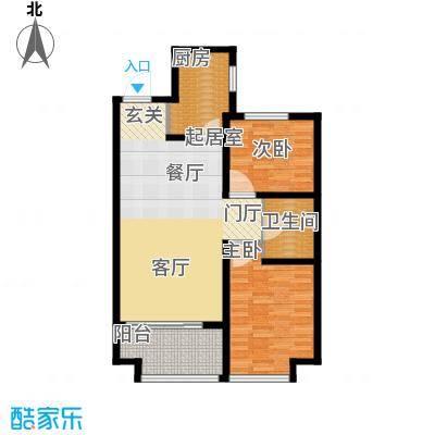 万行中心F户型两室两厅一卫建筑面积约88-91㎡户型2室2厅1卫