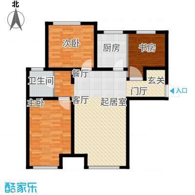 万行中心D户型三室两厅一卫建筑面积约101-102㎡户型3室2厅1卫