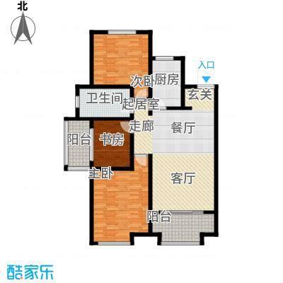 万行中心C户型三室两厅一卫建筑面积约121-124㎡户型3室2厅1卫