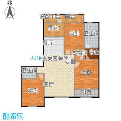 华中国宅华园188.41㎡D-10清和丽景-三室二厅二卫户型3室2厅2卫