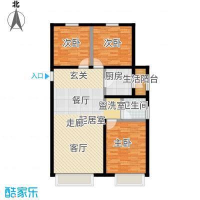 金科廊桥水乡108.10㎡高层B2户型3室2厅1卫-T