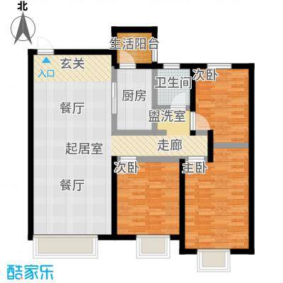 金科廊桥水乡107.68㎡高层B1户型3室2厅1卫-T