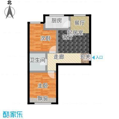 哈东城市公元64.00㎡I户型两室一厅一卫户型2室1厅1卫