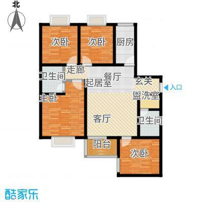 学府街区120.00㎡120平米四室两厅一厨两卫户型