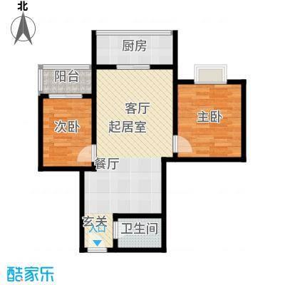 学府街区69.00㎡69平米两室两厅一厨一卫户型