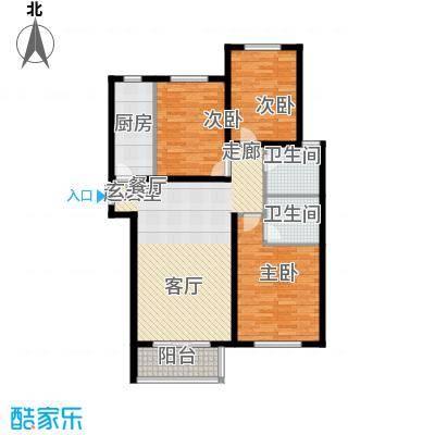 国际新城113.00㎡国际公馆E户型3室2厅2卫
