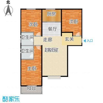 侯河铭品尚江南131.82㎡1、7、8号楼A户型三室两厅两卫户型3室2厅2卫