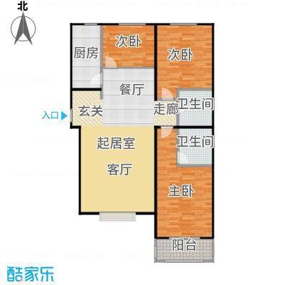 侯河铭品尚江南121.11㎡1、7、8号楼C户型三室两厅两卫户型3室2厅2卫