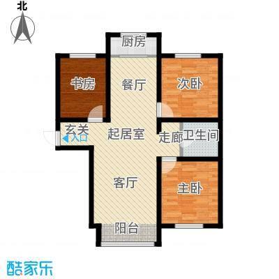 蓝廷花苑107.00㎡D1户型3室2厅1卫