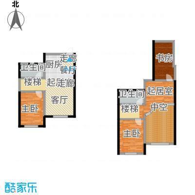 哈东上城90.00㎡4-8-11-12-13#B复式户型下层2室1厅1卫户型1室1厅1卫