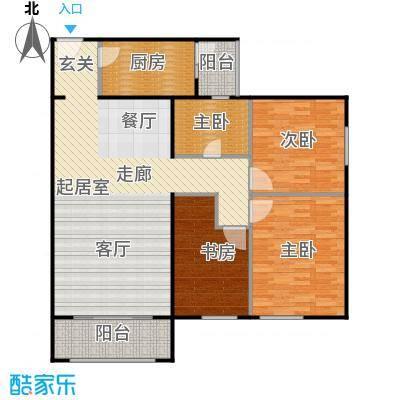 龙河雅居三室一厅116.08平米户型3室1厅1卫