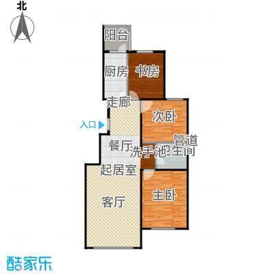 龙河雅居115.69㎡D2户型 115.69平米户型3室2厅1卫