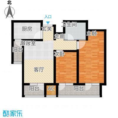 日月天地广场89.02㎡两室两厅户型