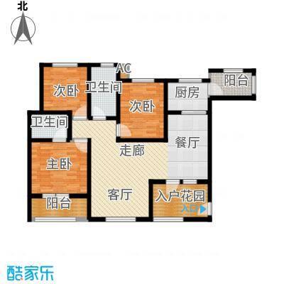东方格兰维亚122.24㎡三室两厅两卫户型3室2厅2卫