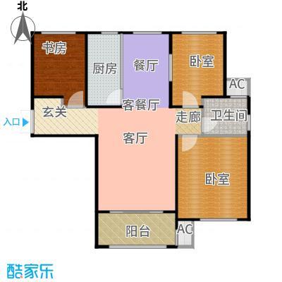 凡尔赛颐阁二期106.00㎡B户型3室2厅1卫