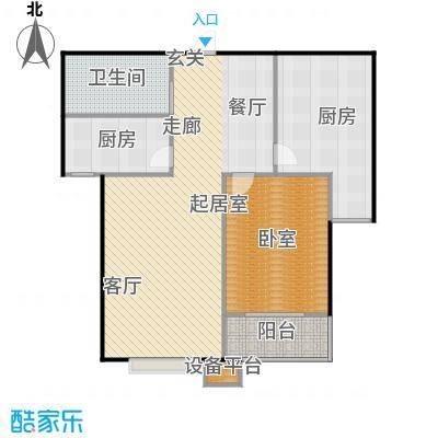 国海公寓A-2户型两室两厅一卫户型2室2厅1卫