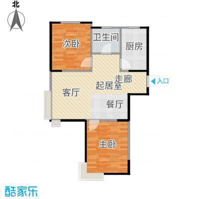 LOHAS上院7号公寓85.29㎡D户型2室1卫1厨