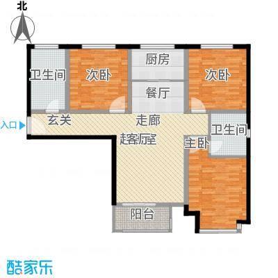上林风景121.54㎡C3户型三室两厅两卫户型3室2厅2卫