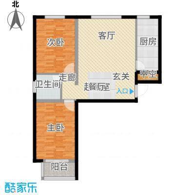 上林风景96.08㎡A1户型两室一厅一卫户型2室1厅1卫