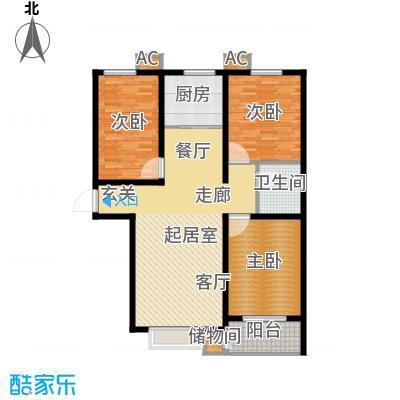 丽景华庭121.20㎡1-D户型三室两厅一卫户型3室2厅1卫