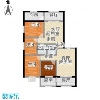 金坤新城花苑A户型-二房二厅一卫-74.88平方米户型2室2厅1卫