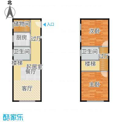 滨才城法兰之香loft户型 参考使用面积64.15平米户型2室1厅2卫