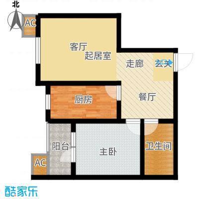 丽景华庭61.71㎡3-B一室两厅一卫户型1室2厅1卫