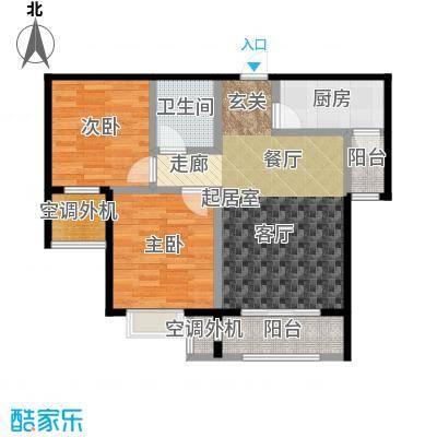 昆河壹号84.76㎡A1户型2室2厅1卫
